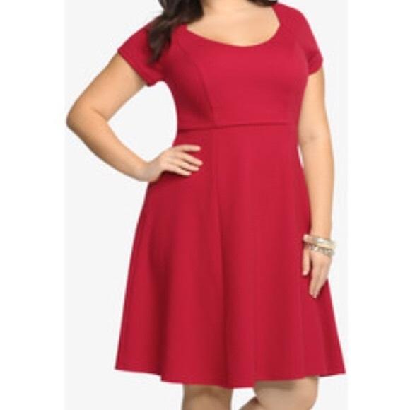 Torrid 1 red knit skater dress NWT 9fa31bd76